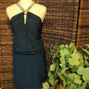 Navy blue and gold halter Style mini dress.